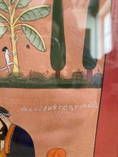 """Miniature érotique dans le goût des miniatures indiennes  inscrite au dos """"Navak..."""