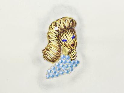 Lot de 3 planches de projets de bijoux gouachés sur calque, représentant des broches...
