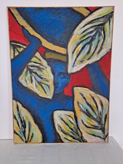 Anne Marie Bodson (née en 1937)  Jeune homme caché derrière les arbres  Peinture...