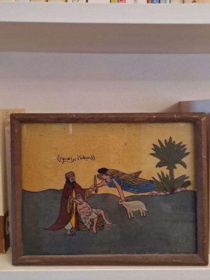 Deux fixés sous verre, le valeureux guerrier et le Sacrifice d'Isaac  26 x 20 cm...