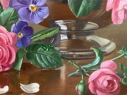 Albert Williams (né en 1922)  Huile sur toile dans un cadre en bois doré, Nature...