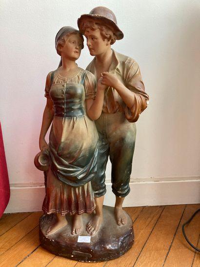 La source  Statue en plâtre représentant...