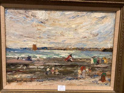Bords de mer  Huile sur carton portant signature en bas à gauche James. Kay S.W.R...