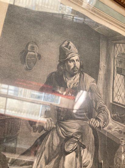 Lot de deux gravures en noir encadrées représentant un cordonnier (32 x 25,5) et...