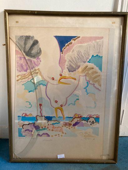 Charles LAPICQUE  Les Mouettes, 1960  Lithographie, épreuve d'artiste. Tâches, salissures...