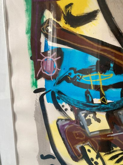 Ecole moderne  Composition, 1989  Encre et aquarelle  104 x 74 cm