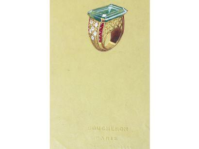 BOUCHERON Paris  Lot de 2 planches de projets de bijoux gouachés sur calque, représentant...