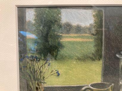 Annie SALLARD (1935-2007)  Nature morte à la fenêtre  22 cm x 31 cm  Lot vendu en...
