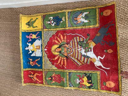 Peinture sur papier enduit, art local indien...