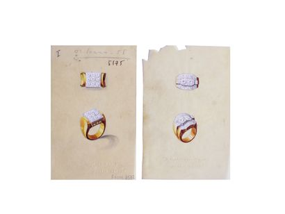 MELLERIO DITS MELLER  Lot de 2 planches de projets de bijoux gouachés sur calque,...