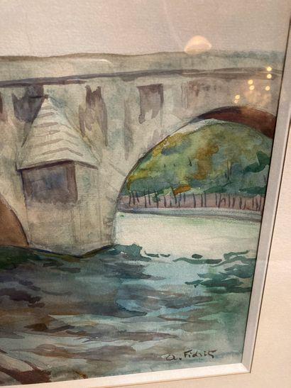 Le pont Royal  Aquarelle portant signature A. Fidrit en bas à droite  23.5 x 32...