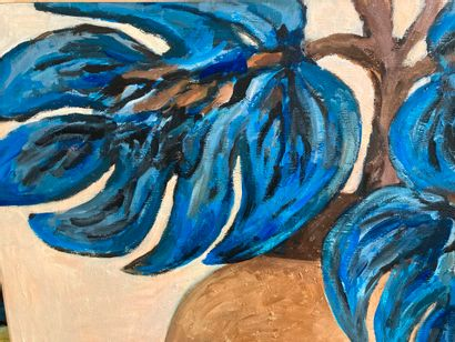 Anne Marie Bodson (née en 1937)  Vase aux fleurs bleues  Peinture acrylique sur...