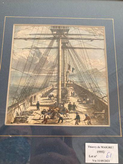 Lot de quatre petites gravures encadrées en couleur représentant des scènes maritimes...