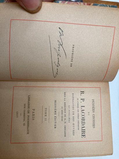 R.P. LACORDAIRE. Pensées choisies. Paris, Poussielgue, 1897. 2 vol. in-18 ou in-16....