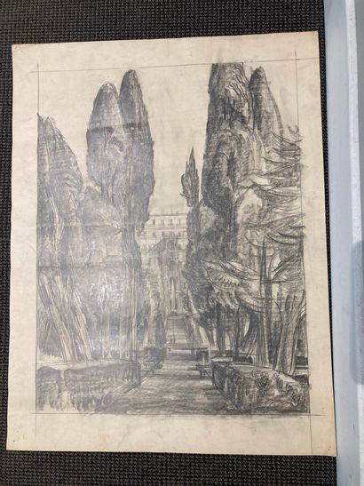 André MAIRE (1898 - 1984).  Italie, études d'architecture  Deux dessins au crayon...