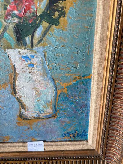 ALEXANDRE ORLOFF (1899-1979)  Vase de fleurs  Huile sur panneau, signée en bas à...