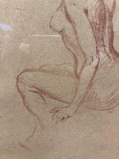 Sanguine dans un cadre en bois doré, Nu féminin de trois quart  33 cm x 23 cm  Lot...