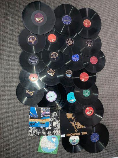 Lot de disques à microsillons pour gramophone...