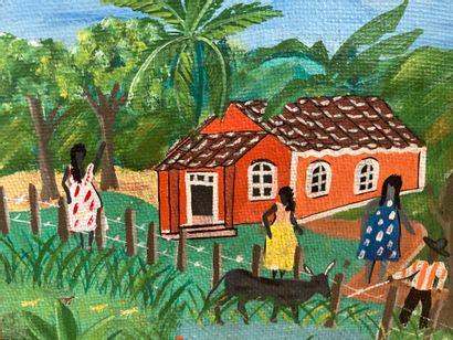 Petite peinture Haïtienne, signé en bas à droite Mirimha (?) L = 18 x H = 15.5 cm...