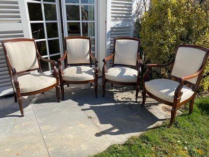 Suite de 4 fauteuils en acajou et placage...