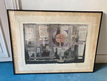 Jean-Marie LEDANNOIS (1940-)  Composition géométrique encadrée  Gouache  45,5 x...