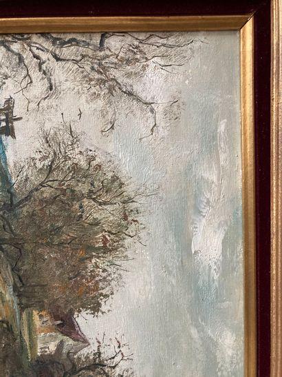 JEAN DUPUIS (XXEME SIECLE)  La butte aux cerfs  Huile sur toile signée Jean Dupuis...
