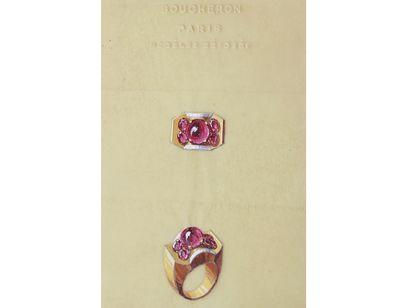 BOUCHERON  Lot de 2 planches de projets de bijoux gouachés sur calque, représentant...