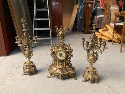 Garniture de cheminée en bronze doré  Hauteur...