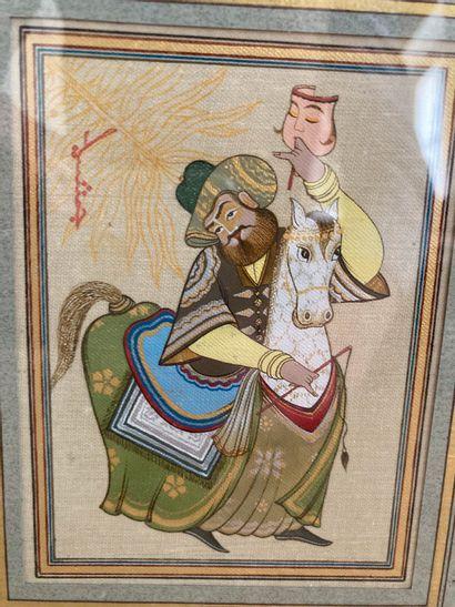 Miniature dans le goût des production d' Ouzbekistan représentant un acteur à cheval...
