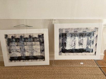 Jacques Faugeroux, né en 1950  Deux compositions en noir et blanc (acrylique)  39...