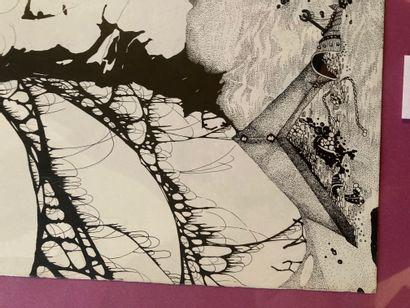 Lithographie moderne représentant une sculpture féminine signé Lot ou Lob 86 en...