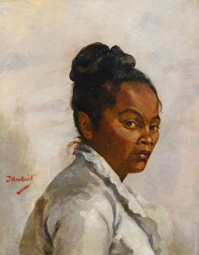 ECOLE XIXe J. HENKART (?)  Portrait de femme des îles  Huile sur toile, signée vers...