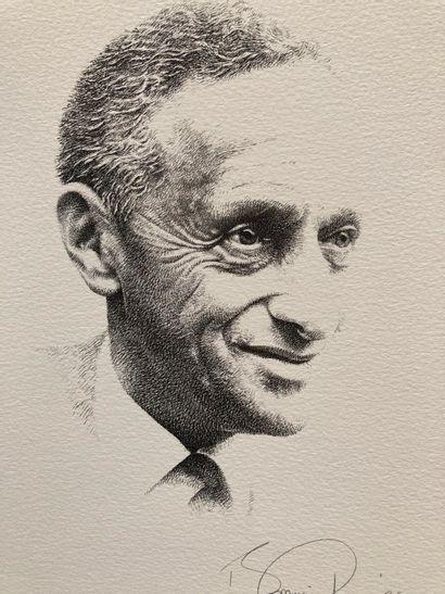 ECOLE MODERNE  La Liberté de réussir (portrait de Pierre Dreyfus)  Lithographie...
