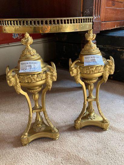 Paire de cassolettes en bronze doré, en forme...