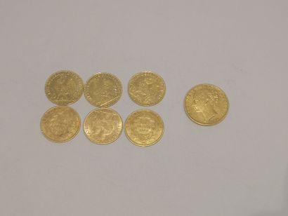 6 pièces de 10 francs or 1 pièce Victoria...