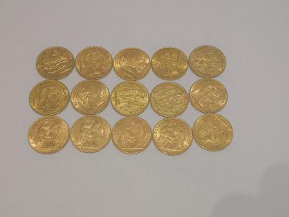 15 pièces de 20 francs or Usures FRAIS 17...