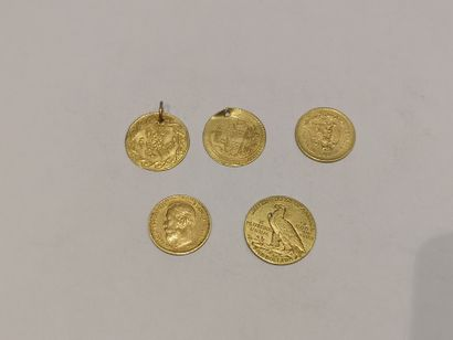 Lot de 5 pièces en or comprenant: 1 pièce...