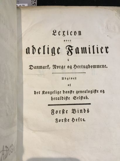 [DANEMARK, NORVÈGE & DUCHÉS / GÉNÉALOGIE & HÉRALDIQUE]. Lexicon over Adelige Familier...