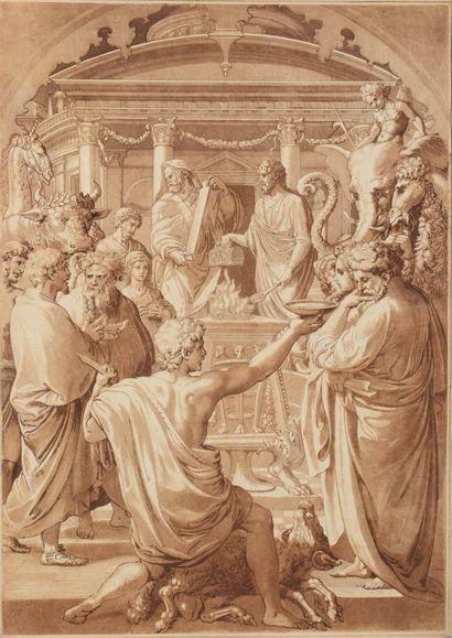 ANONYME  Scène de sacrifice d'après l'antique....