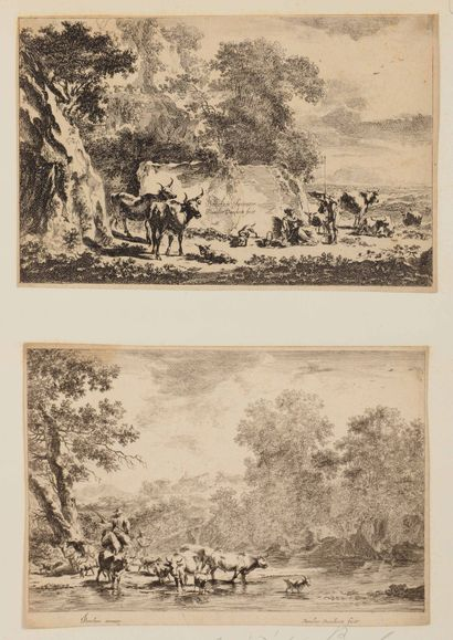 Nicolas BERGHEM (1620-1683)  Scènes pastorales,...