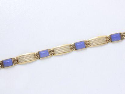 Bracelet articulé en or 750 millièmes, orné...