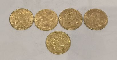 Lot 13 Lot de 5 pièces de 20 Francs or au...