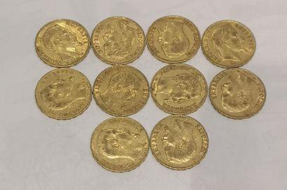 Lot 10 10 pièces de 20 Francs or Napoléon...