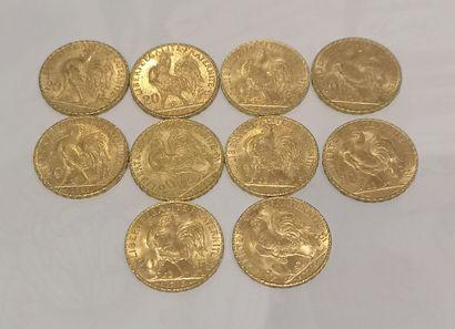 Lot 2 10 pièces de 20 Francs or au Coq (usures)...