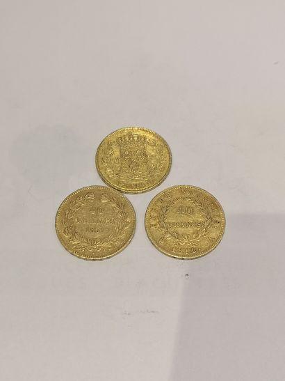 Lot 25 3 pièces de 40 Francs or datées 1812-1816-1831...