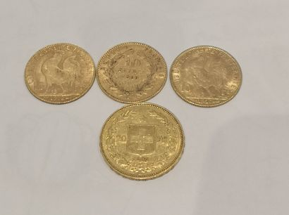 Lot 1 Lot de 4 pièces en or comprenant :...