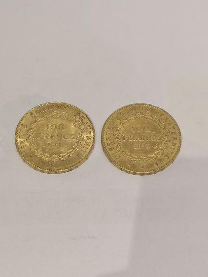 Lot 24 2 pièces de 100 Francs or datées...