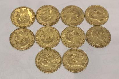 Lot 9 10 pièces de 20 Francs or Napoléon...