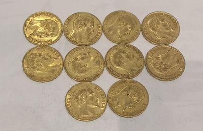 Lot 11 10 pièces de 20 Francs or Napoléon...