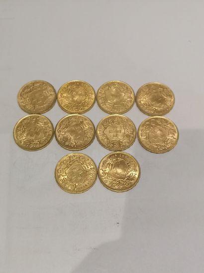 Lot 35 10 pièces de 20 Francs Suisse or...